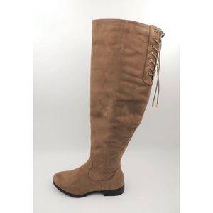 XOXO TRISH Grey Tall High Boots Chic 7.5 Trendy